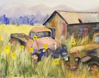 Truck watercolor print, Truck watercolor painting, Barn watercolor painting, Barn watercolor print, truck painting