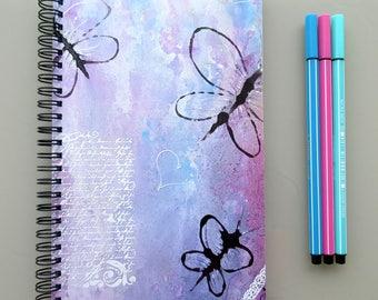 Pretty notebook, romantic journal, notebook, pink