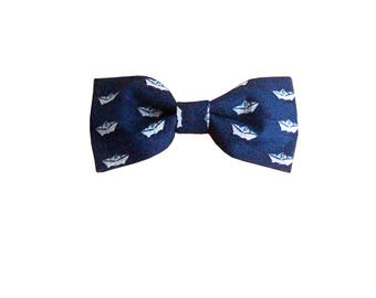 Ocean children bow tie - J&T Bow Ties With Attitude - pre tied and adjustable children bowtie with boat origami print, ages 2 to 9