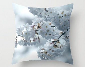 Throw Pillow Cover, Cool Blossoms - Fine Art Photography, Spring Flowers, Gentle Floral, White Blue Dreamy Translucent, Soft Pastel Pillow