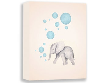 Watercolor Canvas Print - Nursery Art Boy - Elephant Nursery - Blue and Gray - Baby Elephant Art - Kids Wall Decor - Baby Boy Nursery - E569