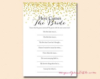 Here Comes the bride game, bride quiz, bridal shower game download, Gold Confetti Bridal Shower, Bachelorette, Wedding Shower BS46