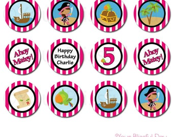 PRINTABLE Girl Pirate Party Circles (Personalized) #569