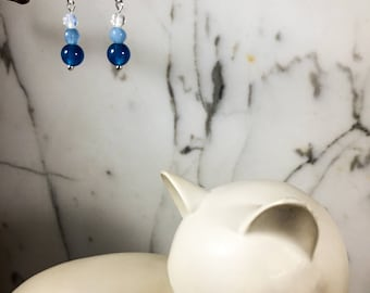 3 Types...Ink Blue Apatite - Aquamarine - Moonstone Earrings