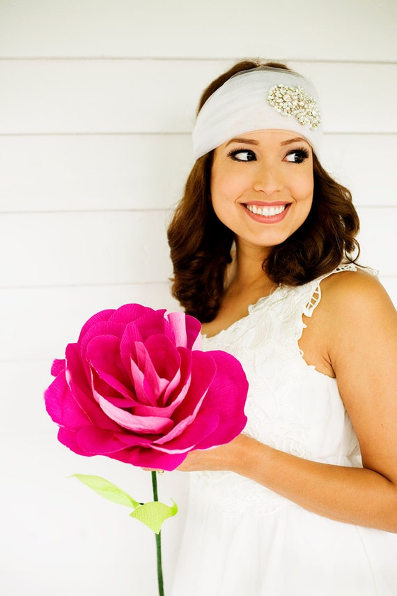 Giant Pink Paper Flower Hot Pink Paper Rose Bridal Bouquet