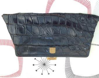 Vintage Black Leather Clutch Bag