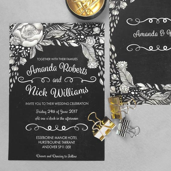 Boho chic wedding invites, Chalkboard wedding invitation template, Floral bohemian wedding invitation, Rustic wedding invitations cheap, A5