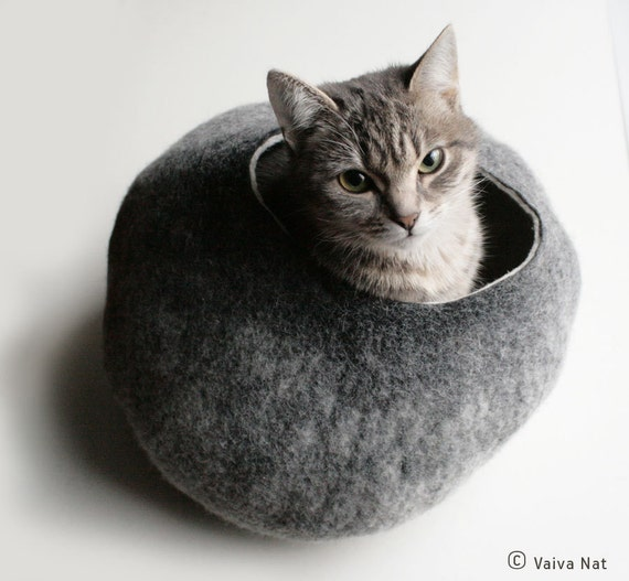 Cat Nap Cocoon / Cave / Bed / House / Vessel   Hand Felted Wool   Crisp  Contemporary Design   READY TO SHIP Warm Gray Stone Bubble