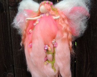 Peach Delight Garden Fairy-  Needle felted wool fairy angel Waldorf inspired creation by Rebecca Varon aka Nushkie