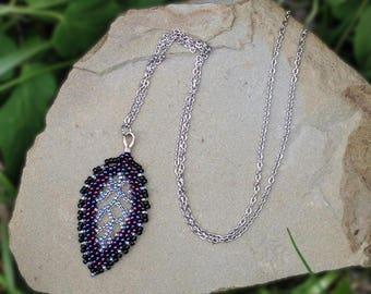 Elven Leaf Necklace in Cosmos - Purple Leaf Necklace - Forest Fantasy Necklace - Purple Fairy Necklace - Bridal Elf Jewelry - Elvish Cosplay