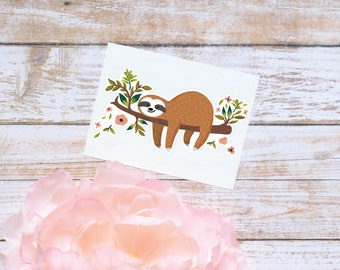 Sloth Decal, Floral Sloth Sticker, Tumbler Decal, Cute Sloth Sticker, Sloth on Branch Decal
