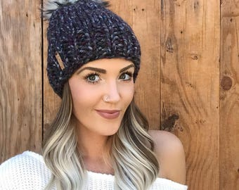 Black Abalone Wool Blend Knit Hat || Purple Gray Grey Husky Faux Fur Pom Pom Hair Heart Cap Earwarmer Fashion Girl Chunky Fall Winter