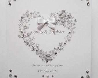 Handmade personalised wedding day card