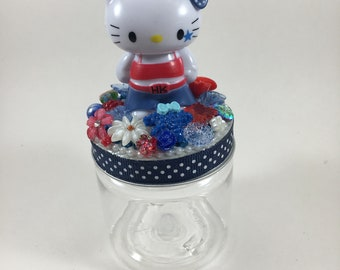 Hello Kitty Assemblage Art Trinket Jar Party Favor - Hello Cuteness