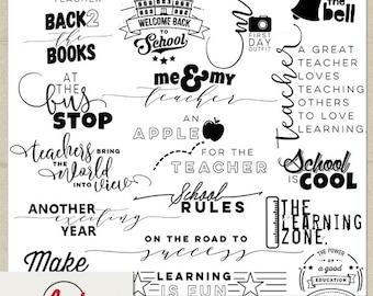 Digital and Printable Overlay Word Art Set - Instant Download - Back 2 School - Teachers