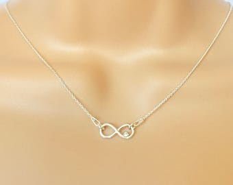Sterling Silver Infinity Necklace, Infinity Swarovski Crystal Necklace, Friends Necklace, Sisters Necklace, Bridesmaids Necklace