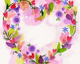 Heart Wreath original watercolor painting pink and purple heart flowers Lauren Ingraham