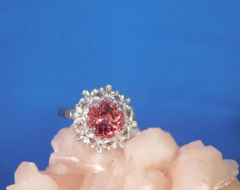 3.19 ct. Round Lotus Blossom Sapphire Floral Sterling Silver Ring