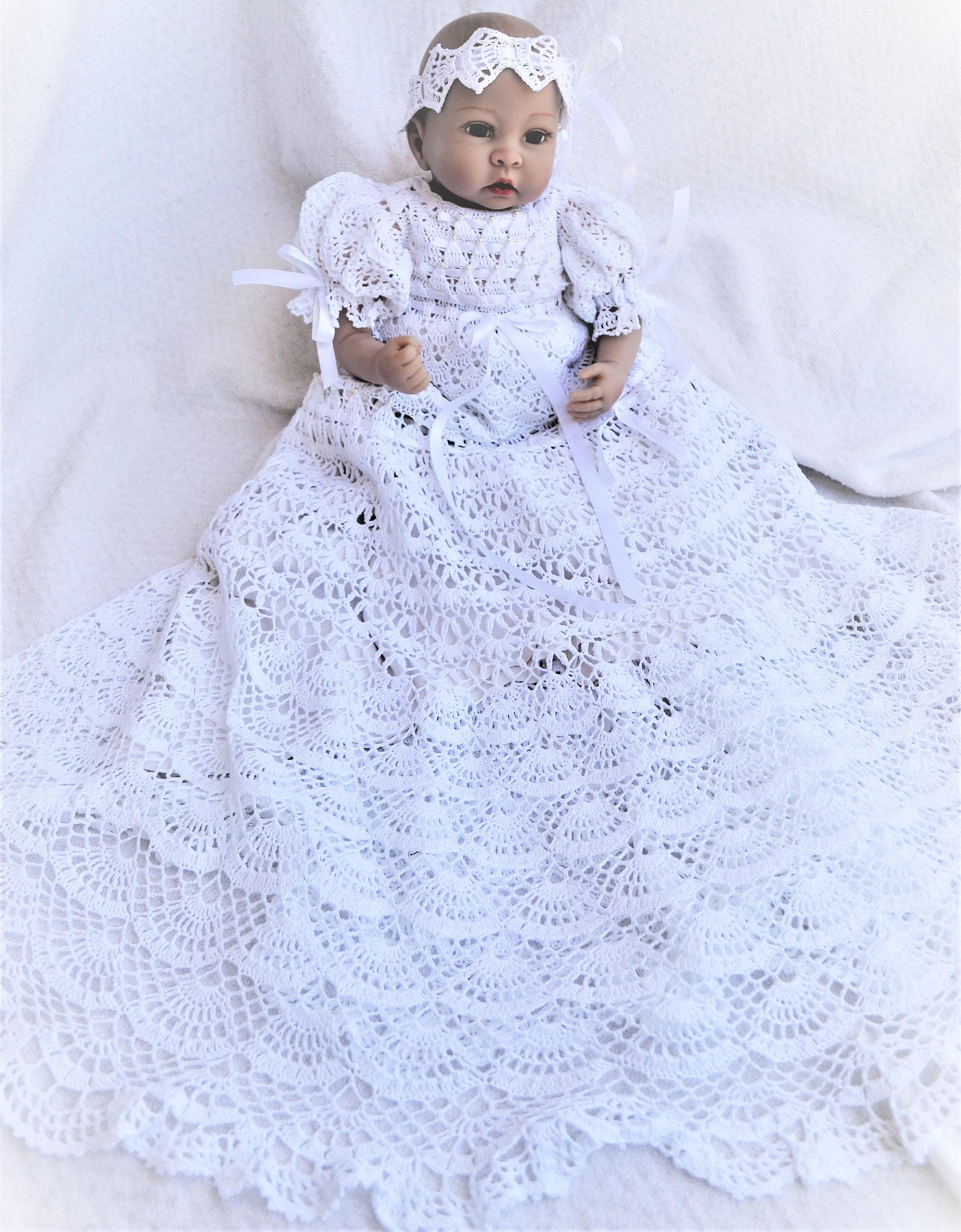 baby Andrea christening gown crochet pattern infant thread crochet