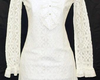 1960s Lace Dress Sz 0-2 Vintage Retro Wedding Party Dinner