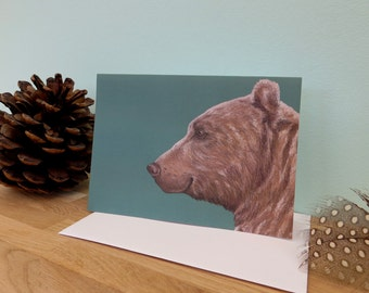Mama Bear teal background illustration, blank greeting card, 340gsm 105mm x 148mm, matt inside, plain white envelope