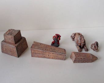 Ancient Egypt ruins, Shattered Obelisk and Sphinx. Game terrain for role play or wargames.