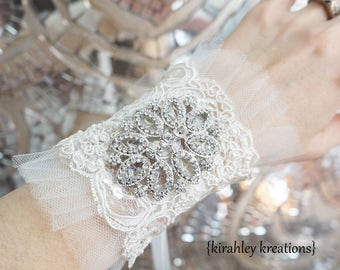 SHIP READY Vintage Pearl Beaded Embroidered Lace Tulle Rhinestone Brooch Wedding Bridal Bride Wristlet Bracelet Corsage Ivory White Ribbons