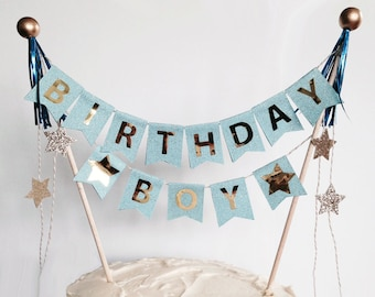Cake garland topper for boy birthday party