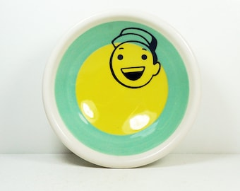 small dish, with a little mechanic on a color block of blue green/lemon butter yellow - READY TO SHIP