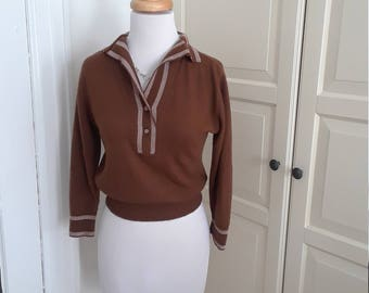 50% Off SALE!! 1950s Cocoa Brown Pullover Sweater, 3/4 Sleeves, Piping, Bombshell, Sweater Girl, Size M, 39B