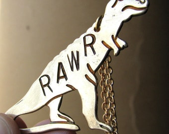 personalized T.REX necklace RAWR tyrannosaurus - dinosaur jewelry - hand stamped