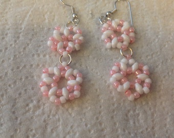 Pink And White Hand Beaded Earrings