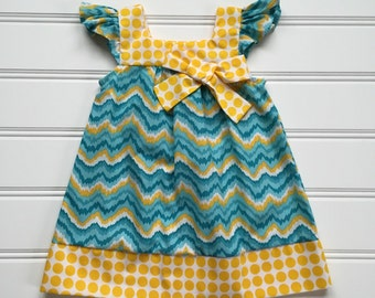 Little Girl Dress, Girl Summer Dress, Girl Sundress, Toddler Summer Dress, Toddler Girl Dress, Flutter Sleeves, Teal Dress, 3T Ready to ship
