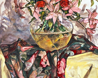 Still Life with Pink Lilies and Red Roses