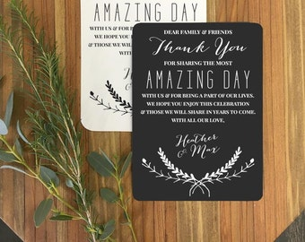 Amazing Day Wedding Reception Thank You Cards - Custom Reception Place Cards - Personalized Wedding Thank You Cards - Vintage Rustic
