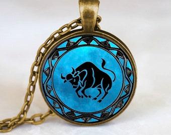 Taurus Pendant, Taurus Necklace, Taurus Jewelry, Taurus Charm, Bronze (PD0342)