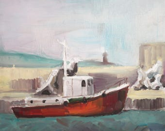 Expressionist landscape ship oil painting signed