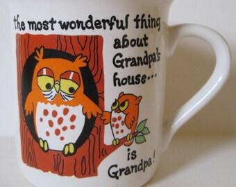 Vintage Grandpa Coffee Mug Cup - Grandpa's House- Owls