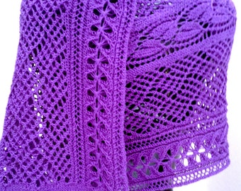 Dayflowers and Honeybees Rectangular Lace Knit Wrap