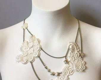 Elegant silver and white embroidered lace necklace with quartz, jasper and pearl-Wedding- bridesmaid