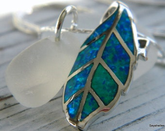 Authentic Frosty White Sea Glass with Fire Opal, Sterling Silver Leaf Pendant, Seyshelles Necklace