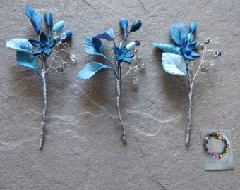 Blue Flower Pins.