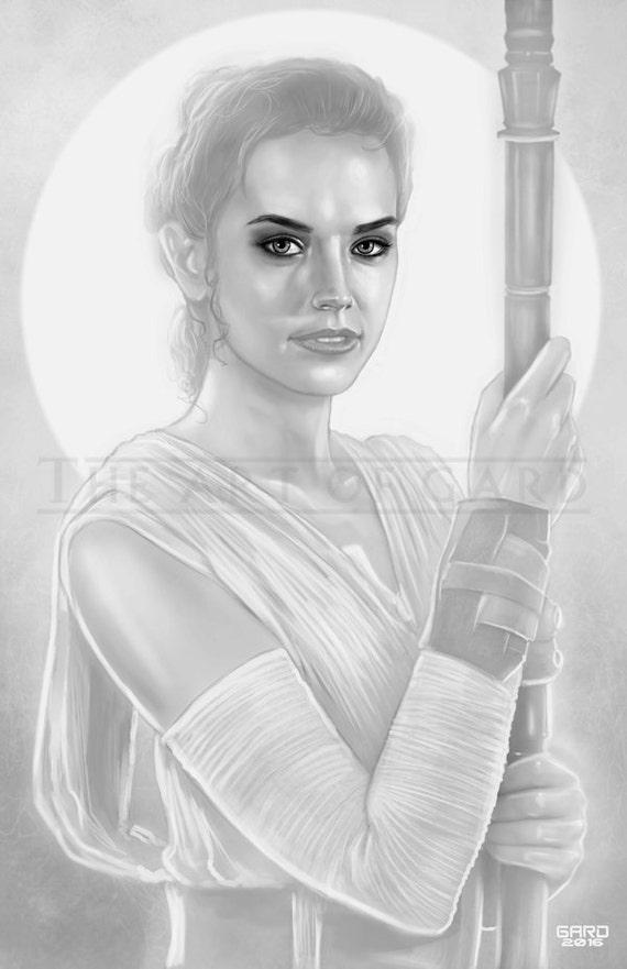 Rey / Daisy Ridley (StarWars The Force Awakens) Art Print 11X17