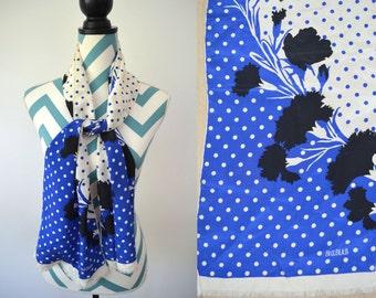 Vintage Bill Blass Silk Printed Scraf with Fringe Edge - Polka dot Floral Print Black, White, Blue Designer Necktie Scarf