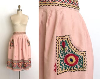 vintage 1940s skirt | 40s embroidered gabardine skirt