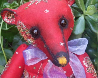 RESERVED***Eastern Promise - 17 inch red silk embroidered bear