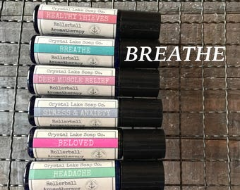 BREATHE Rollerball Aromatherapy Essential Oil Blend Organic / Congestion Allergies Sinus / Peppermint, Rosemary, Lemon and Eucalyptus