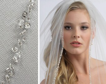 Wedding Veil, 1 Layer, Crystal Wedding Veil, Sequin Wedding Veil, Bridal Veil in Ivory and White, Fingertip Length, Elbow Length  ~VB-5006