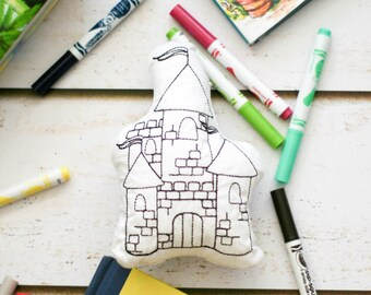Fairy Tail Activity - Castle Pillow - Kids Art Kit - Gift for Kids - Rainy Day Activity -  Crafts for Kids - Coloring Doll - Doodle It Doll