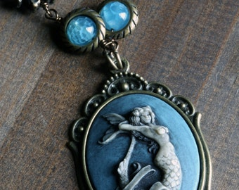 Neo Victorian Style Jewelry - Necklace - Blue Mermaid Cameo - Antique bronze